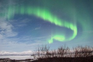 Northen lights ripple through the skies over Abisko in Swedish Lapland late March 7