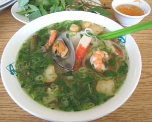 Pho Do Bien Fresh Rice Noodles with Squid, Sea Scallops & Black Tiger Prawns