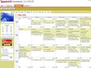 free yahoo calendar schedule appointments reminders via cell phone text instant message notification easy to use