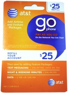 AT&T CINGULAR Go Phone Wireless Prepaid Refill Card $25 $50 $100 scam fraud gift pin using stolen credit card