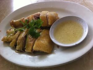 ga luot - steamed chicken dip with lemon lime salt and pepper sauce