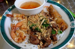 home made bun tom thit nuong recipe Grilled Shrimp, Pork & Egg Roll over Vermicelli