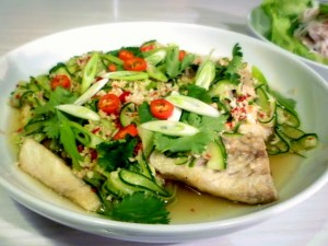 fish sauce lime sause cucumber fried fish