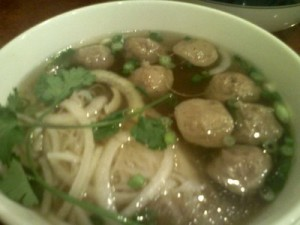 Pho Bo Vien Fresh Rice Noodles with Beef Meatballs