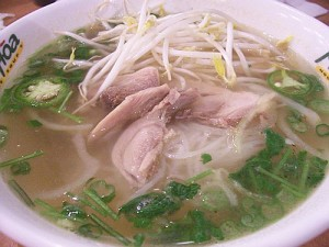 pho ga Fresh Rice Noodles with strips of Chicken Breast