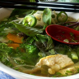 Pho Rau Cai Fresh Rice Noodles with Deep Fried Tofu & Assorted Vegetables