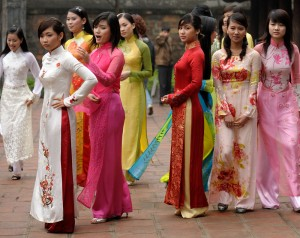 Vietnamese ao dai traditional dress in Vietnam for female